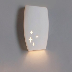 Dark sky light fixture, ceramic wall sconce