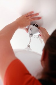 Installing a ceiling light fixture