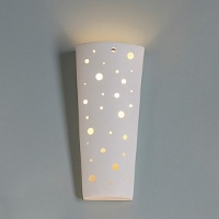 A contemporary ADA compliant wall sconce with a circle pattern