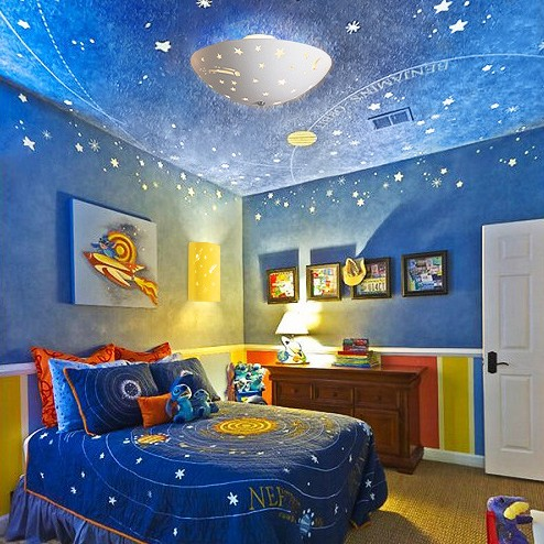 6 great kids 39 bedroom themes fabby blog for Outer space decor ideas