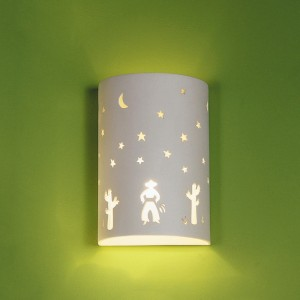 Enhance a western-themed kids' room with this sconce, featuring cactus, cowboy, and night sky.