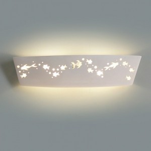 A ceramic vanity light with fish cutouts