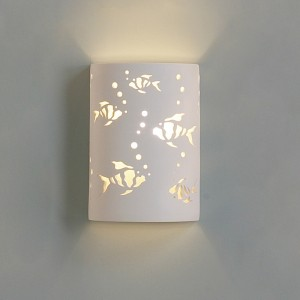 Ceramic Cylinder Sconce with Beta Fish with Bubbles